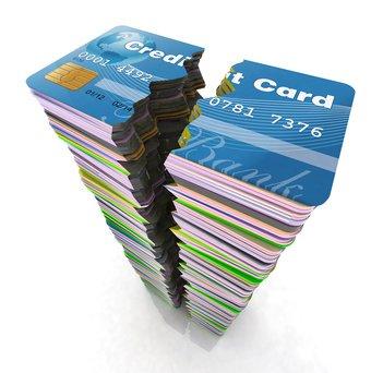 stack of credit cards split in half