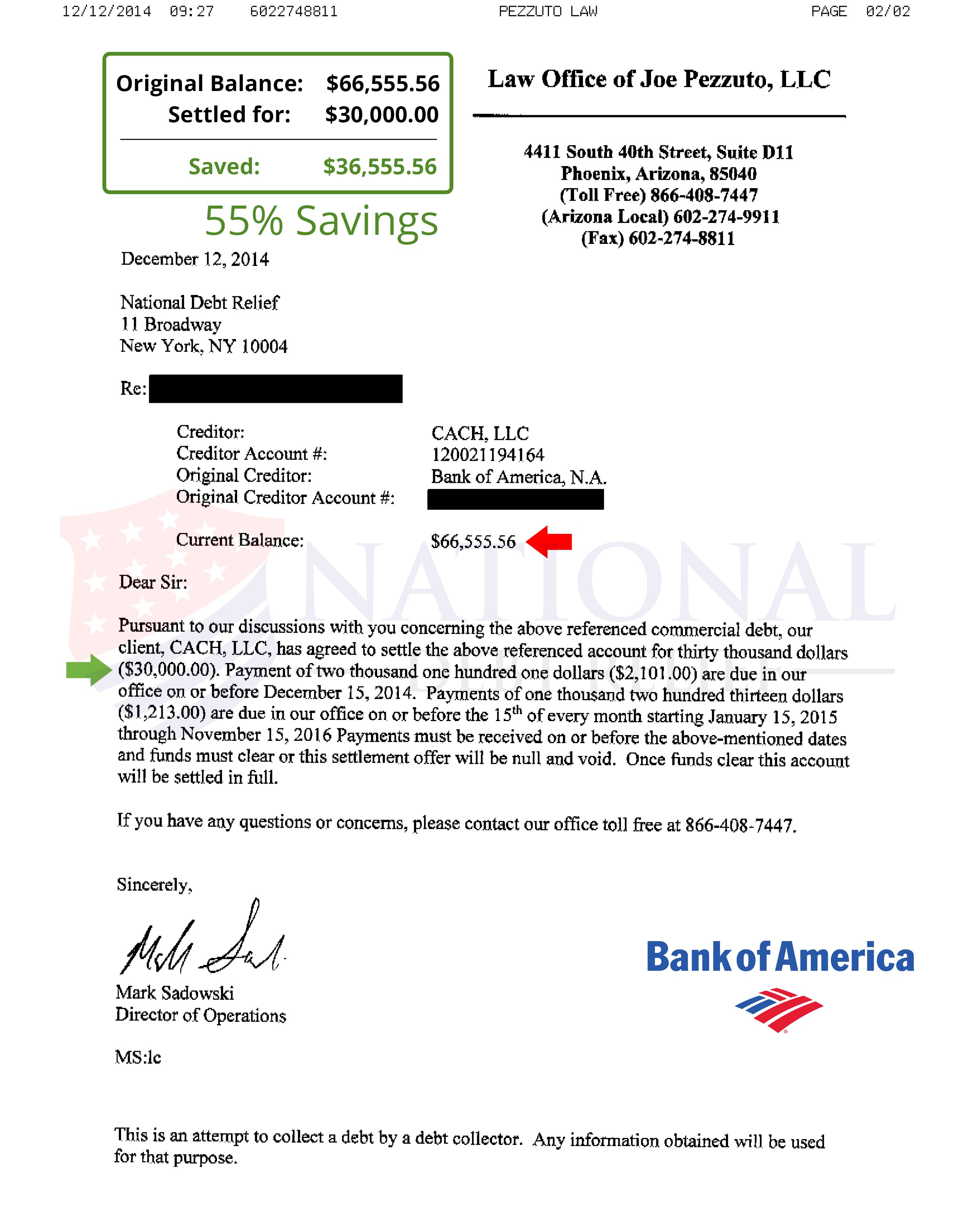 Debt settlement letters bank of america 55 savings 2 spiritdancerdesigns