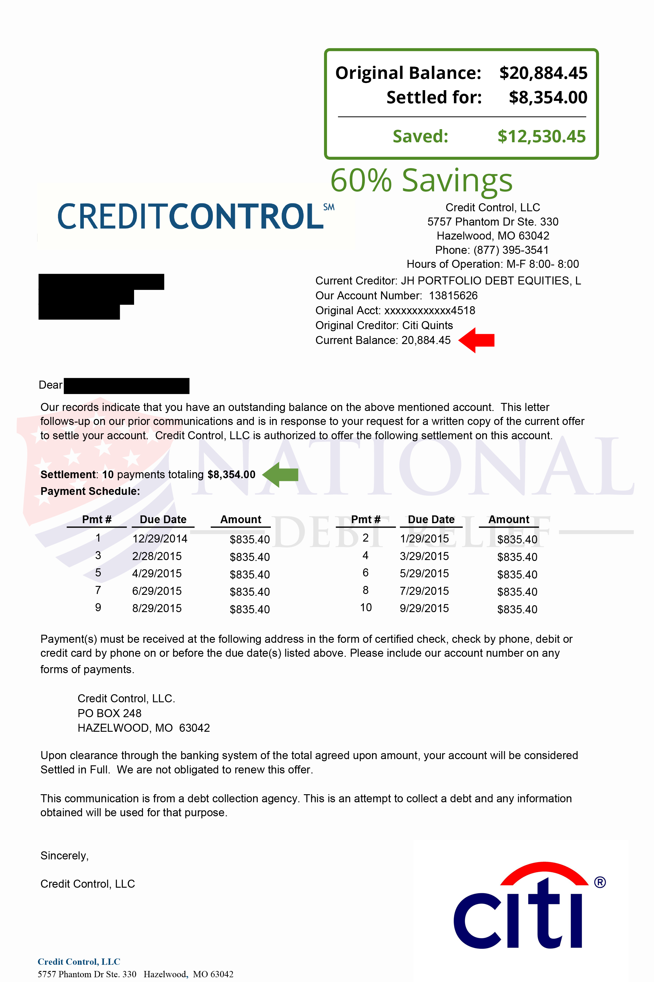 Debt settlement letters citi 60 savings spiritdancerdesigns Gallery