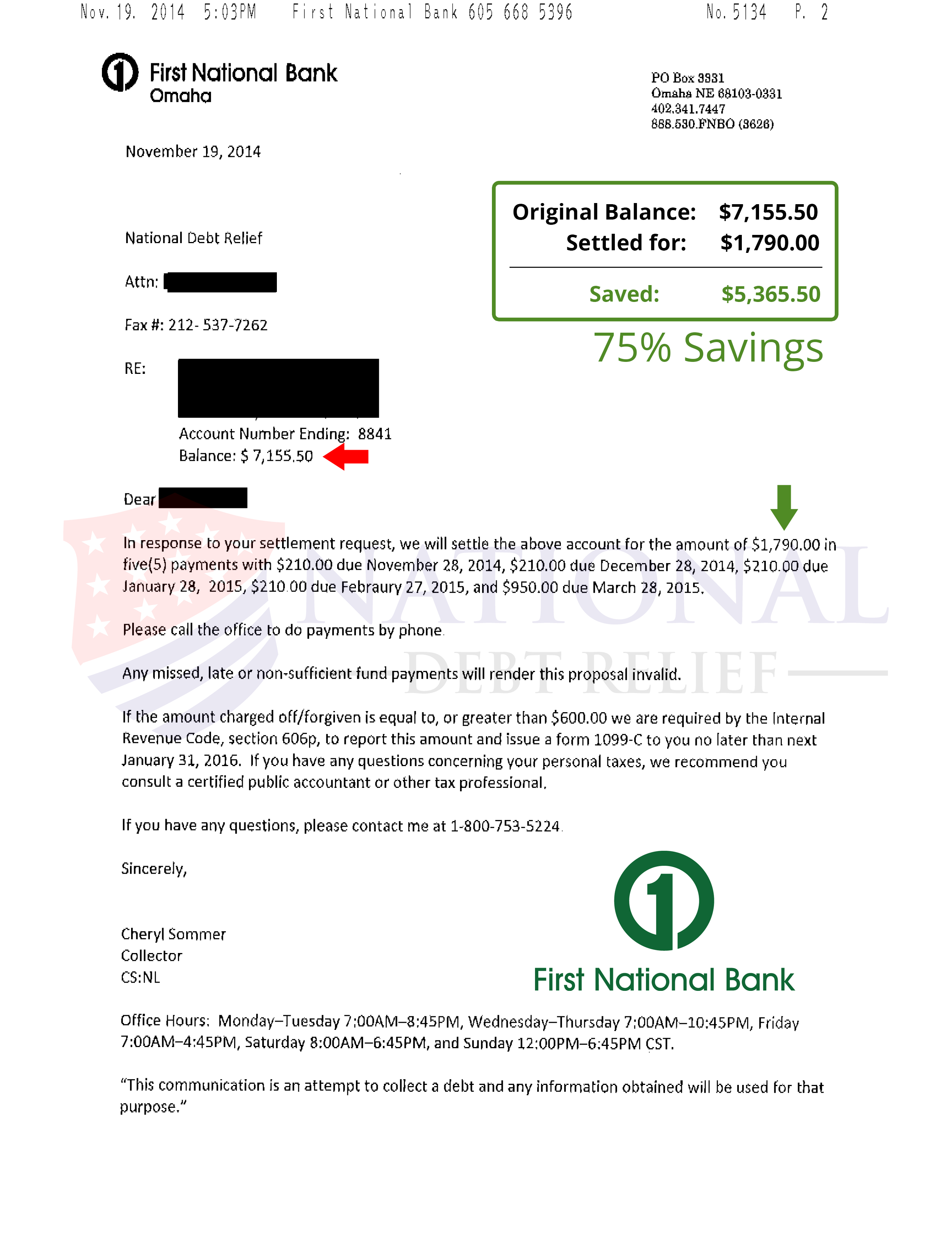 Fake Capital One Letter from www.nationaldebtrelief.com