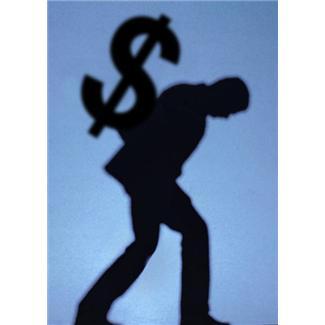 man carrying dollar sign