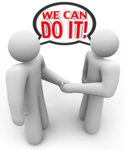 """2 guys shaking hands saying """"We can do it"""""""