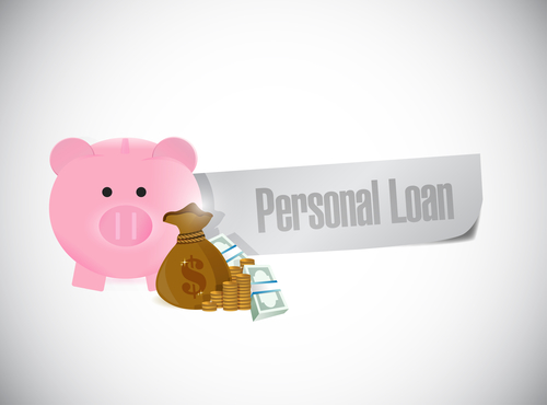 personal loans and a piggy bank