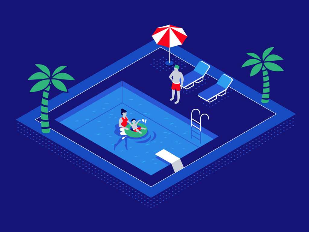 graphic family save and stay cool in pool